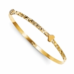 14K Gold Heart Sparkle Adjustable Baby Bangle