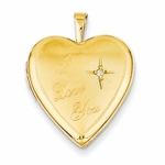 14K Gold I Love You Diamond Locket