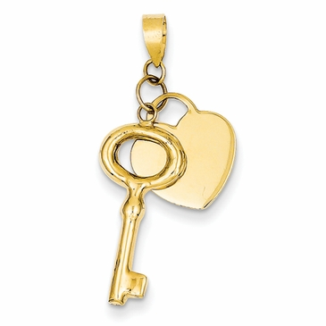14K Gold Key Heart Charm Set