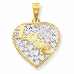 14K Gold Love Hearts Pendant
