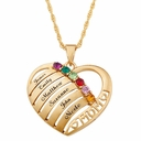 14K Gold Plated Personalized Banded Mother's Heart Necklace