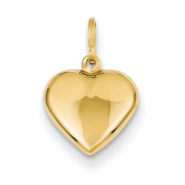 14K Gold Puff Heart Pendant