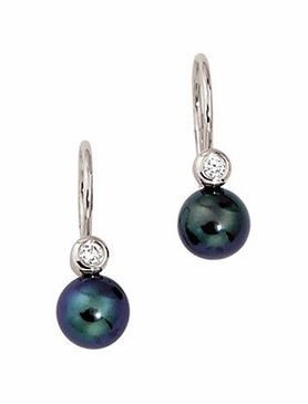 14K White Diamond and Black Pearl Earring