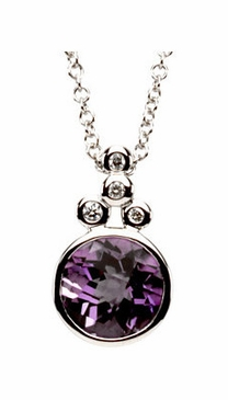 14K White Gold Checkerboard Amethyst & Diamond Purple Neckpiece