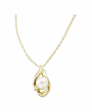 14K Yellow Diamond and Akoya Pearl Pendant