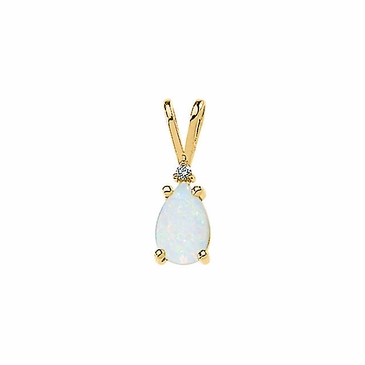 14K Yellow Diamond & Opal Cabochon