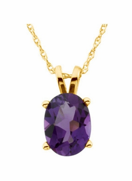 14K Yellow Gold Oval-Faceted Amethyst Necklace