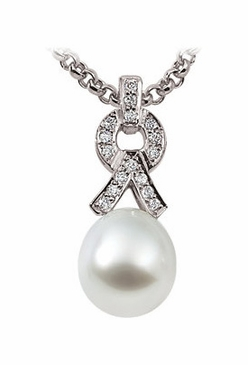 18K Palladium White Diamond and Natural Pearl Pendant