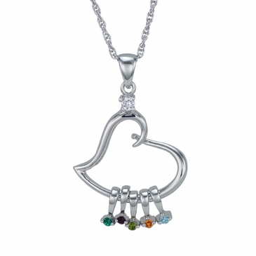 A mothers heart birthstone pendant necklace bliss living a mothers heart birthstone pendant necklace aloadofball Images