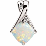 Aesthetic 14K White Diamond & Opal Pendant