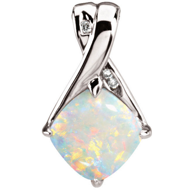 Aesthetic 14k white diamond opal pendant bliss living aloadofball Images