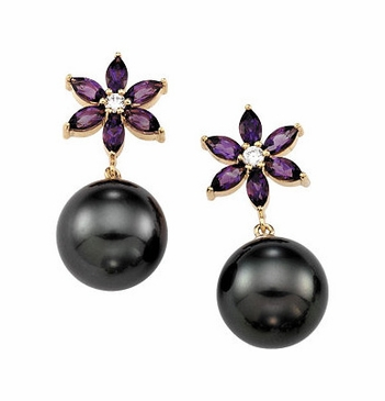 Amethyst Flower and Tahitian Pearl Danglers