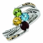 Antique Scroll Two Tone Birthstone Ring - click to Enlarge