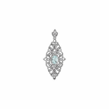 Aquamarine Diamond Flower Pendant
