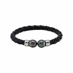 Artistic black leather bracelet with black pearls