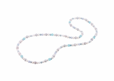 Artistic multi-color pearl and gemstone necklace