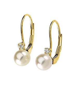 Authentic Akoya Pearls with Diamond Stud Loop Earrings