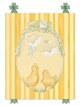 Baby Chicks Pastel Green Stretched Art Personalized by Dish and Spoon