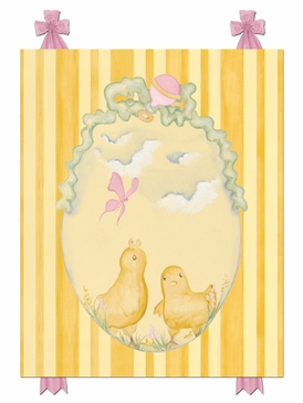 Baby Chicks Pastel Pink Stretched Art Personalized by Dish and Spoon