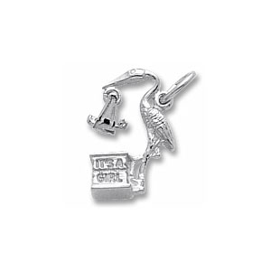 Baby Girl Stork Charm by Forever Charms