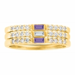 Baguette Birthstone Gold Band - with Genuine Stones