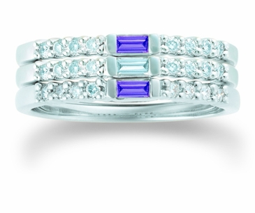 Baguette Birthstone Gold Band - with Simulated Stones