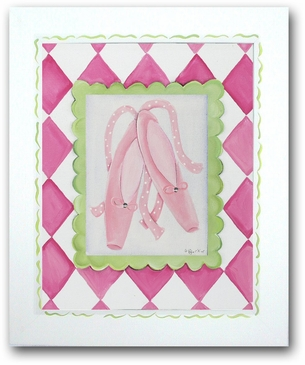 Ballerina Butterfly - Ballet Slippers Framed Canvas Wall Art
