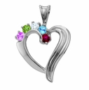 Beautiful Family Heart Necklace in Sterling Silver