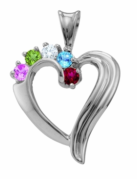 """Beautiful Family"" Heart Necklace in Sterling Silver"