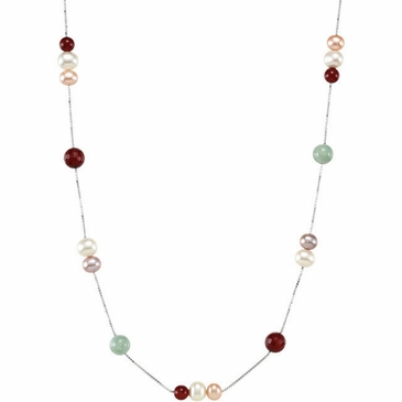 Beautiful Multi-Color Freshwater Cultured Pearl, Jade, & Red Agate Necklace