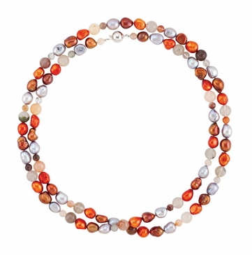 Beautiful Pearl & Agate Bead Necklace