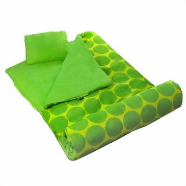 Big Dots Green Kids Sleeping Bag