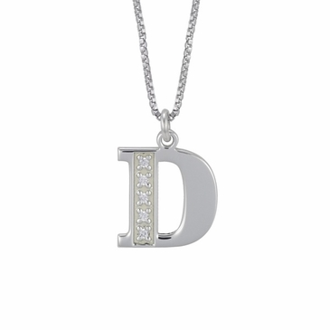 BIock Initial and CZ Pendant Necklace