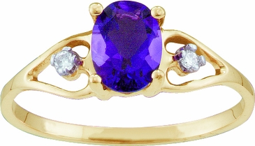 Birthstone Open Heart Ring with Diamonds