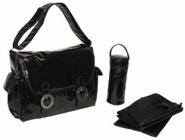 Black Corduroy - Coated Double Buckle Diaper Bag by Kalencom