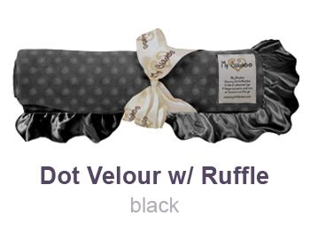 Black Dot Velour with Ruffle Trim Blanket by My Blankee