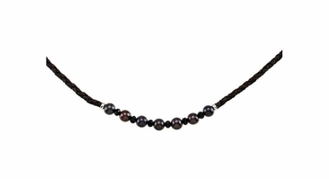 Black Onyx and leather Pearl necklace