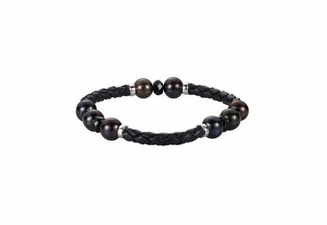 Black Pearl Wheat weave Bracelet