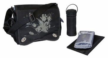 Black Screened - Sam's Messenger Diaper Bag by Kalencom