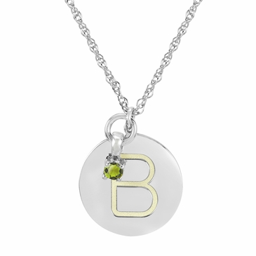 Block Initial Disc and August Birthstone Necklace