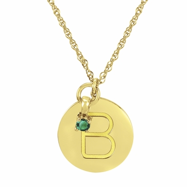 Block Initial Disc and Birthstone Necklace