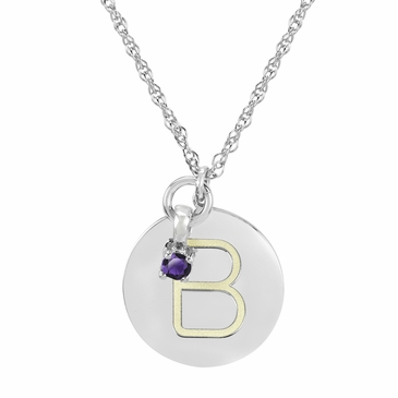 Block Initial Disc and February Birthstone Necklace