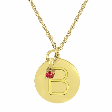 Block Initial Disc and July Birthstone Necklace