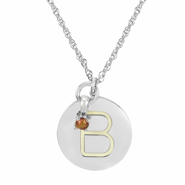Block Initial Disc and June Birthstone Necklace