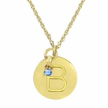 Block Initial Disc and March Birthstone Necklace