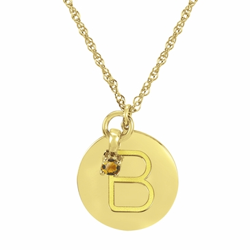 Block Initial Disc and November Birthstone Necklace
