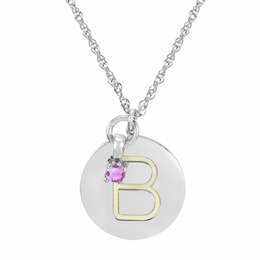 Block Initial Disc and October Birthstone Necklace