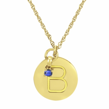 Block Initial Disc and September Birthstone Necklace