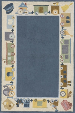 Blue Classic Trains Rectangle Rug