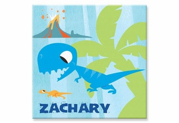"Blue Dinosaur Canvas Wall Art Personalized - 15"" x 15"""